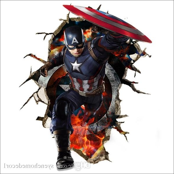 Newest Captain America Wall Decals 3D Wall Stickers For Baby Nursery With Regard To Well Liked Captain America 3D Wall Art (View 5 of 15)