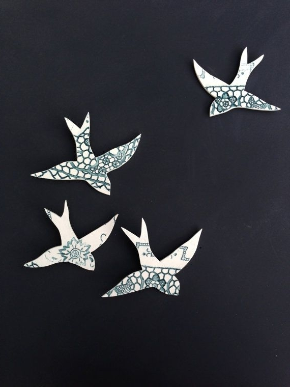 Newest Ceramic Wall Art Swallows We Four Fly Together Teal & White Birds 3D With White Birds 3D Wall Art (Gallery 11 of 15)