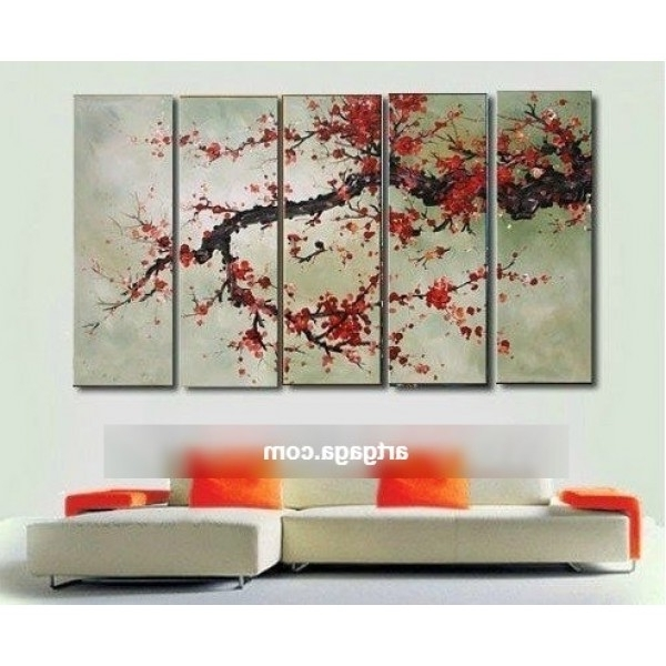 Newest Cherry Blossom Red Oil Paintings On Canvas Home Decoration Modern In Abstract Cherry Blossom Wall Art (View 12 of 15)