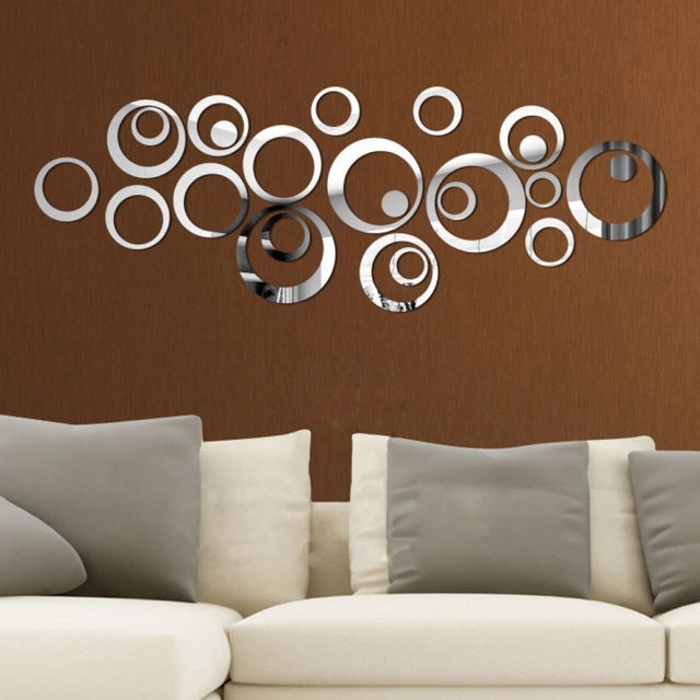 Newest Circles 3D Wall Art With 24Pcs Circle 3D Mirror Acrylic Wall Sticker Removable Art Mural Home (View 2 of 15)