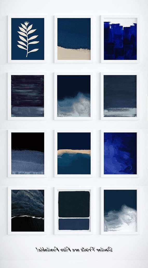 Newest Dark Blue Abstract Wall Art Pertaining To Printable Dark Blue Abstract Print, Gold Print, Modern Art Prints (View 13 of 15)