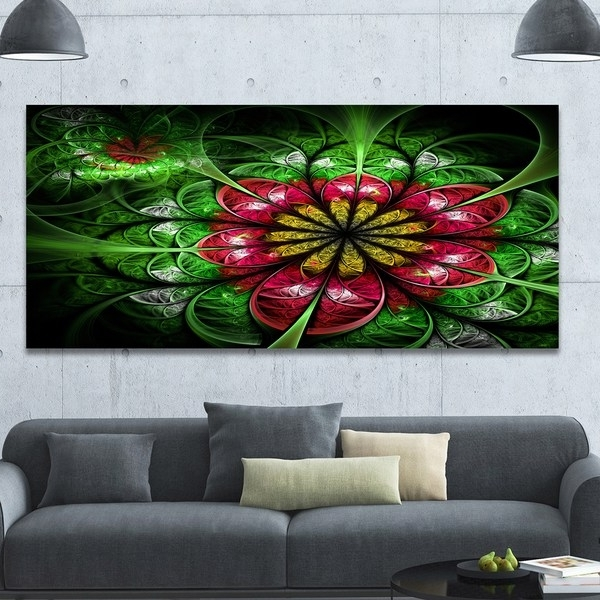 Newest Designart 'dark Yellow And Green Flower'extra Large Abstract Canvas With Overstock Abstract Wall Art (View 8 of 15)