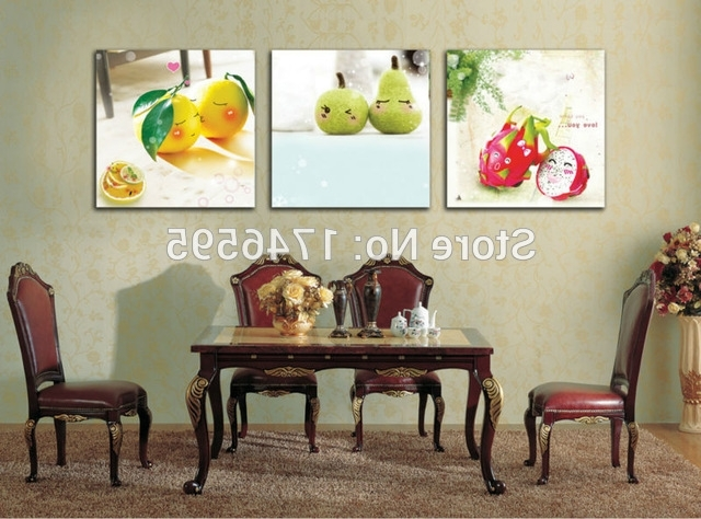 Newest Dining Wall Art Regarding Big 3Pcs Modern Home Wall Decoration Restaurant Dining Room Wall Art (View 8 of 15)