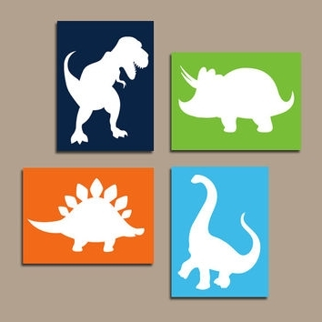 Newest Dinosaur Wall Art For Kids In Dinosaur Wall Art Canvas Or Prints Boy From Trm Design (View 7 of 15)