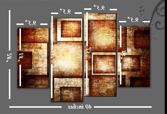 Newest Golden Brown Geometric Bold Canvas Wall Art Picture Abstract 4 Panel Intended For Bold Abstract Wall Art (Gallery 7 of 15)