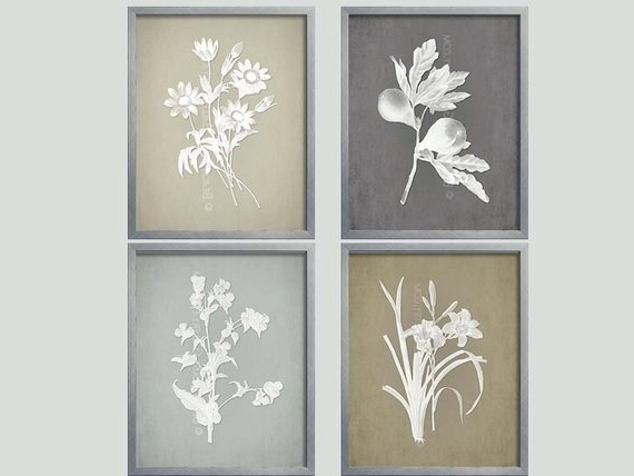 Newest Gray Botanical French Country Wall Art Botanical (View 5 of 15)