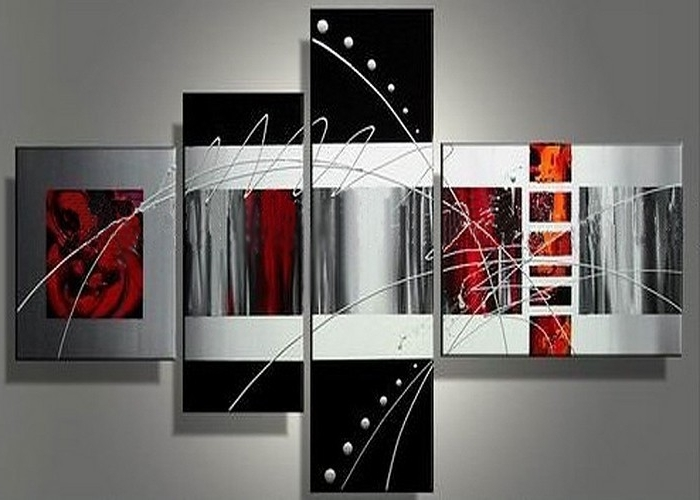 Newest Handmade 4 Piece Black White Red Contemporary Abstract Wall Art Oil Pertaining To Contemporary Abstract Wall Art (View 10 of 15)