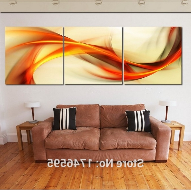 Newest Hd Print 3 Pieces Canvas Abstract Orange Wall Art Picture Print In Abstract Orange Wall Art (Gallery 4 of 15)