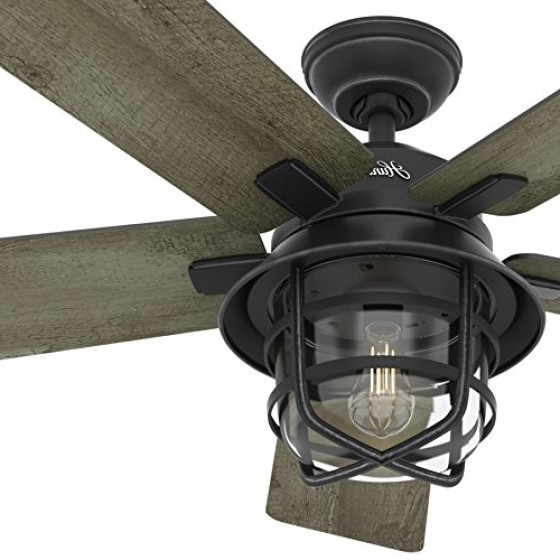 Newest Hunter Fan 54″ Weathered Zinc Outdoor Ceiling Fan With A Clear Glass intended for Outdoor Ceiling Fans With Hook