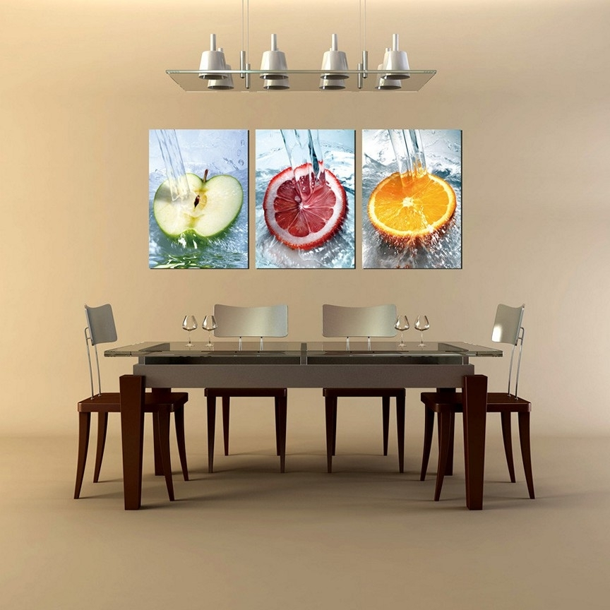 Newest Large Wall Art For Kitchen For Creative Ideas Dining Room Wall Art Diy Formal 3 Piece Large Framed (View 11 of 15)