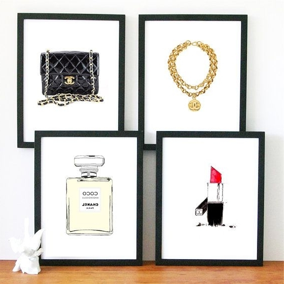 Newest Limited Edition Wall Art With Regard To 4 Chanel Bag Gold Bracelet Limited Edition Art Print Wall, Chanel (Gallery 15 of 15)