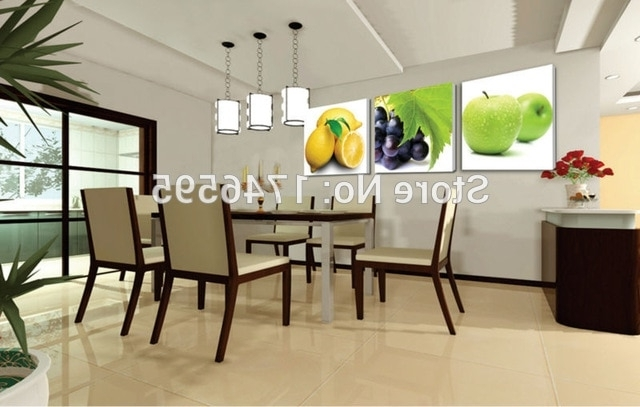 Newest Modern Wall Art For Dining Room Throughout Big Size 3Pcs Modern Decor Restaurant Dining Room Wall Art Decor (Gallery 15 of 15)