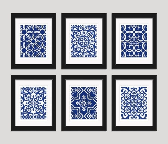 Newest Navy Blue Art Blue White Wall Art Home Decor Setinkandnectar With Regard To Blue And White Wall Art (Gallery 1 of 15)