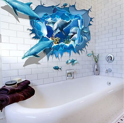 Newest Ocean 3D Dolphins Cracked Wall Art Sticker Decal Vinyl Mural Kids Throughout 3D Wall Art For Bathroom (View 5 of 15)