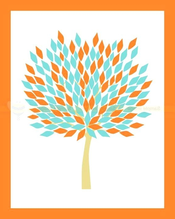 Newest Orange And Turquoise Wall Art With Teal And Orange Wall Art Wild Orange Flowersprint Canvas Wall (View 6 of 15)