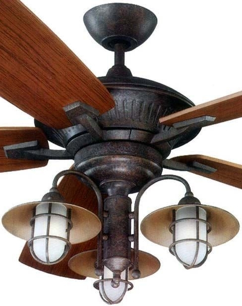 Newest Outdoor Ceiling Fans With Bright Lights With Rustic Ceiling Fans With Lights Intended For Inviting (Gallery 11 of 15)
