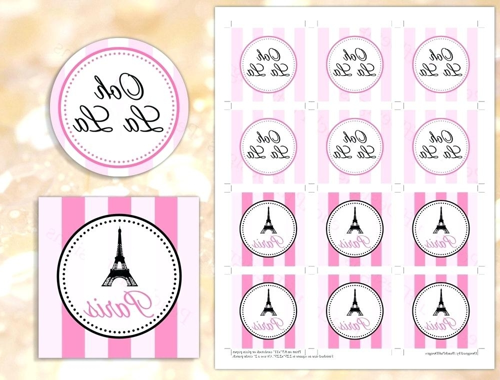 Newest Paris Themed Stickers Printable Cupcake Toppers Paris Themed Regarding Paris Themed Stickers (View 7 of 15)