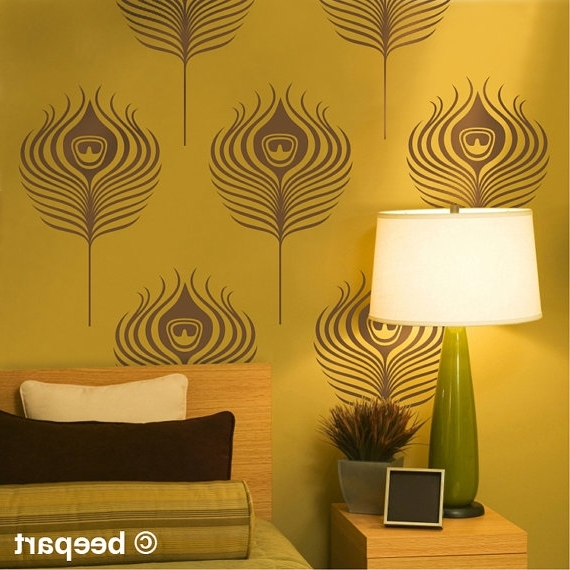 Newest Peacock Feathers Wall Decals Art Deco Vinyl Wall Art Set Art Nouveau With Wall Art Deco Decals (Gallery 7 of 15)