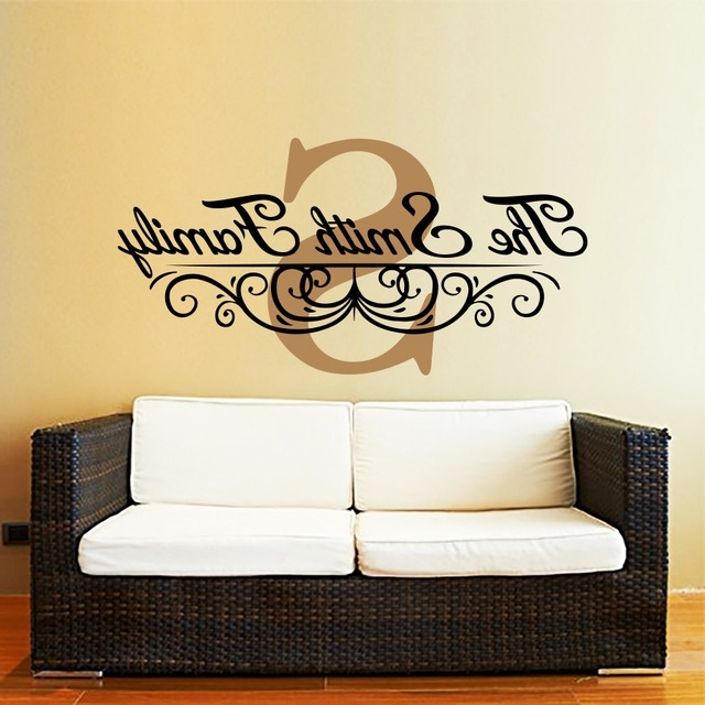 Newest Personalized Family Monogram Decal Custom Family Name Wall Decal For Personalized Last Name Wall Art (View 8 of 15)