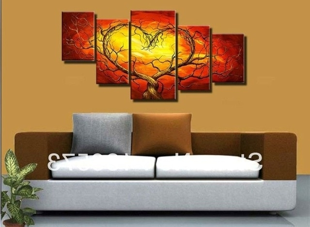 Newest Red And Yellow Wall Art Intended For Red Yellow Couple Lovers Heart Tree Art Canvas Painting Oil Cheap (Gallery 1 of 15)
