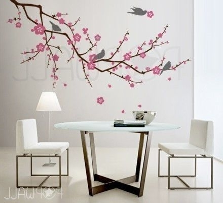 Newest Red Cherry Blossom Wall Art Within Wall Art Ideas Design : Sample Cherry Blossom Wall Art White Chair (View 7 of 15)