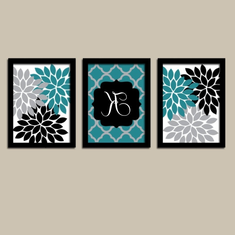 Newest Turquoise And Black Wall Art Intended For Teal Black Wall Art Flower Wall Art Bedroom Canvas Or Prints (View 7 of 15)