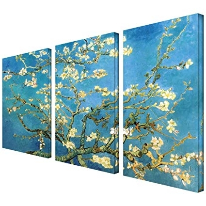 Newest Vincent Van Gogh Multi Piece Wall Art With Amazon: Artwall 3 Piece Almond Blossom Gallery Wrapped Canvas (View 15 of 15)