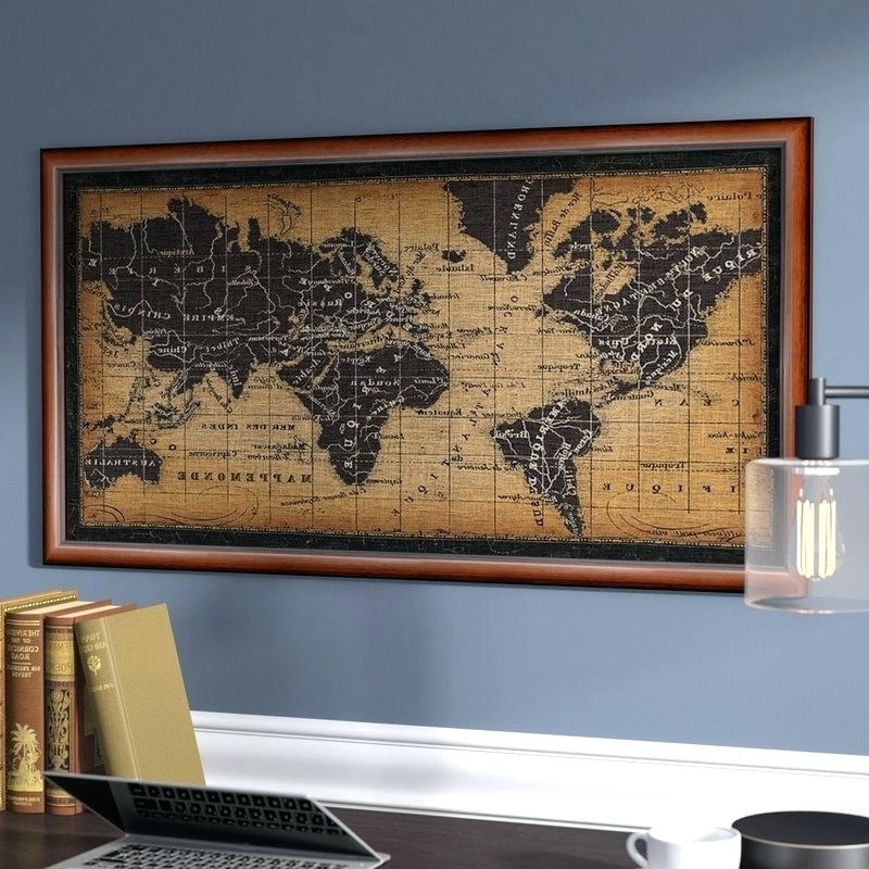Newest Wall Arts ~ World Map Wall Art Framed Home Co Old Graphic For Living Throughout Framed World Map Wall Art (View 13 of 15)