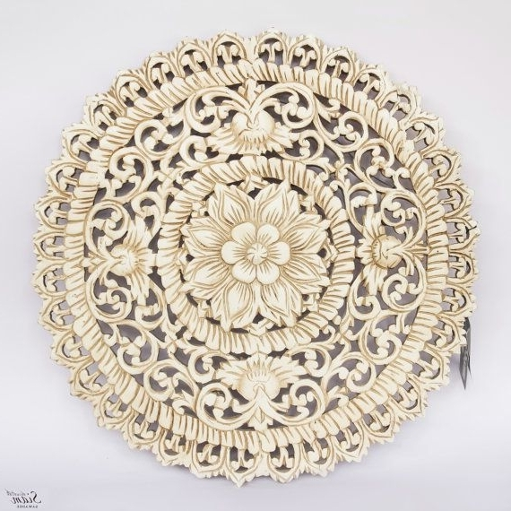 Newest White Floral Wood Wall Art Panel. Indian Wood Carved Wall Hanging With Regard To Wood Carved Wall Art Panels (Gallery 15 of 15)