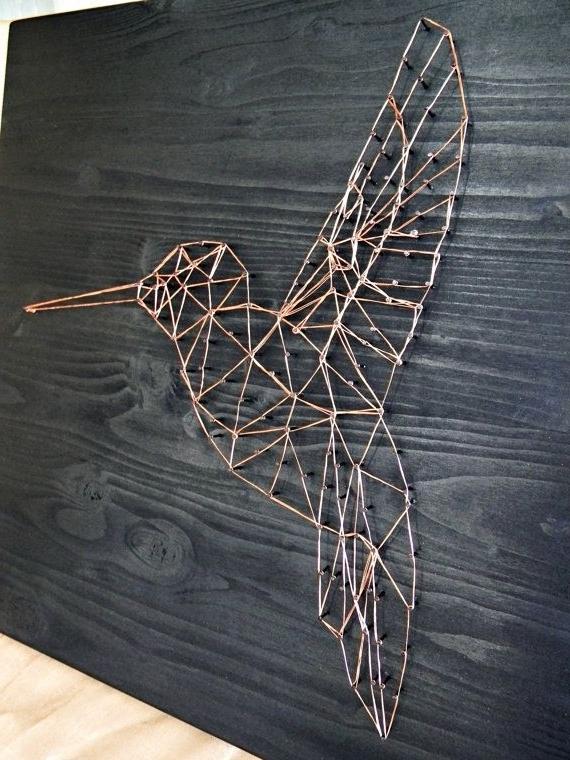 Newest Wire Wall Art Decors For String Art Hummingbird Art Geometric Wall Art Decor Minimalist Wall (View 6 of 15)