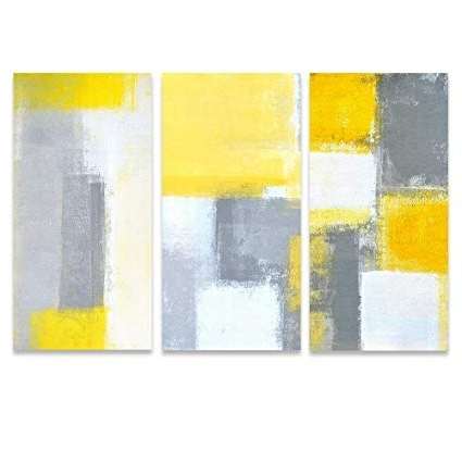 Newest Yellow And Grey Abstract Wall Art Inside Amazon: Sumgar Abstract Wall Art Yellow And Grey Paintings On (Gallery 11 of 15)