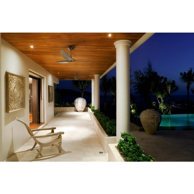 Nickel Outdoor Ceiling Fans With Regard To Newest Haiku Luxe Series: Satin Nickel Outdoor Ceiling Fan On Porch (View 11 of 15)