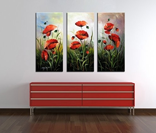 "Noah Art Hand Painted Flower Art, ""red Poppies"" 3 Piece Gallery Throughout Famous 3 Piece Floral Canvas Wall Art (View 9 of 15)"