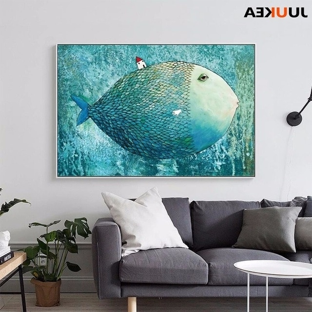 Nordic Canvas Painting Abstract Fish Wall Art Painting Canvas Print Throughout Favorite Abstract Fish Wall Art (View 12 of 15)