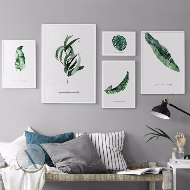 Nordic Home Decoration Abstract Leaf Wall Art Plant Wall Pictures Inside Famous Abstract Leaves Wall Art (View 14 of 15)