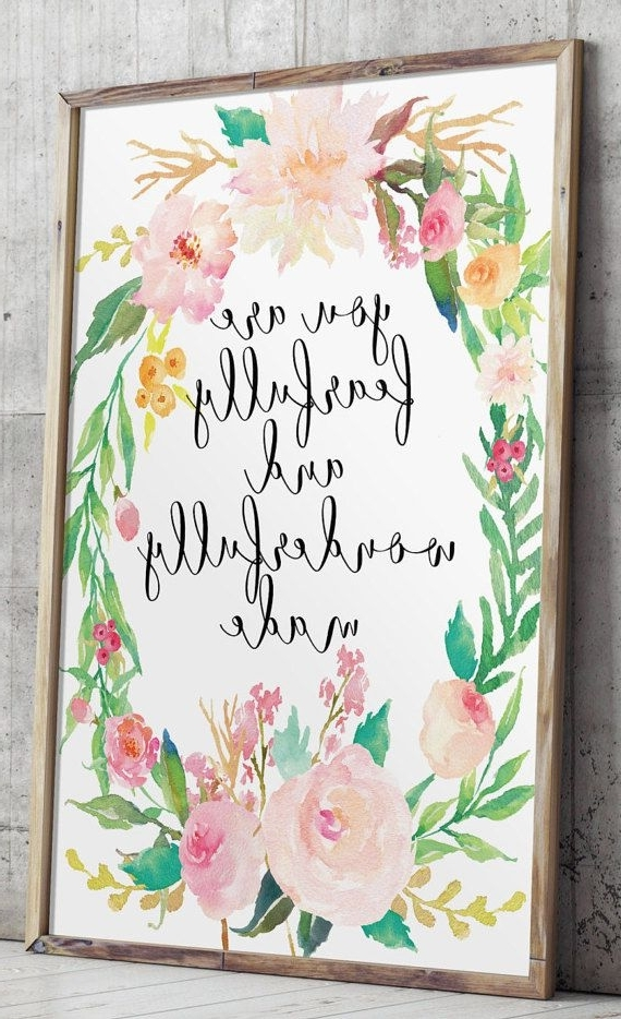 Nursery Bible Verse, Nursery Art, Fearfully And Wonderfully Made With 2018 Nursery Bible Verses Wall Decals (View 5 of 15)
