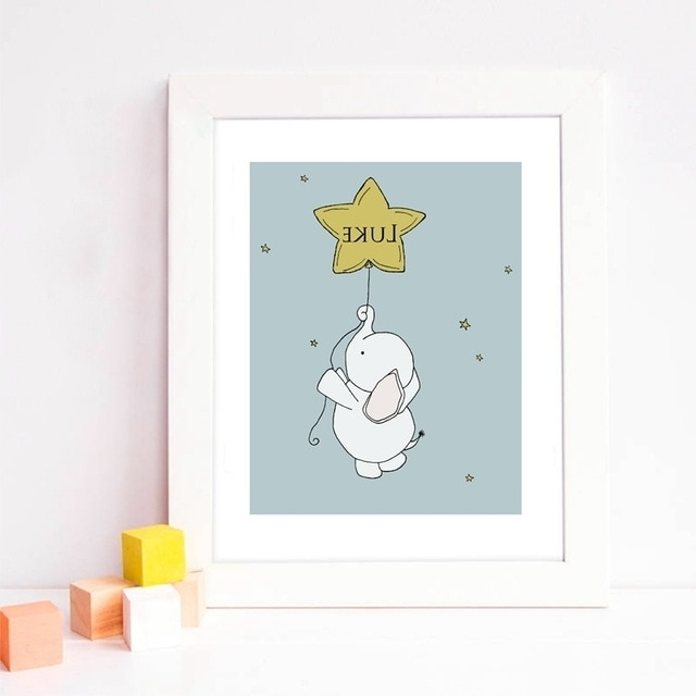 Nursery Canvas Art Throughout Well Liked Personalized Name Cartoon Elephant Star Balloon Nursery Canvas Art (View 6 of 15)