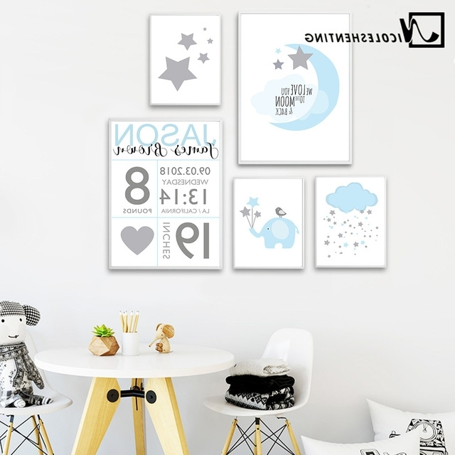 Nursery Canvas Art Within Famous Nicoleshenting Birth Stats Custom Posters Cartoon Nursery Canvas Art (View 14 of 15)