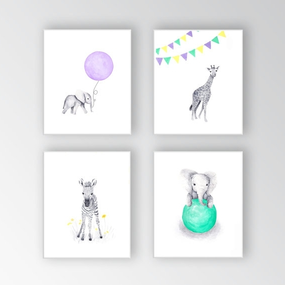 Nursery Canvas Art Within Newest Zebra Canvas Art, Baby Girl Nursery Art, Animal Watercolor Paintings (View 1 of 15)