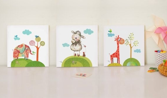 Nursery Print Set, Baby Room Prints, Nursery Canvas Art, Canvas Art Throughout Most Up To Date Nursery Canvas Art (Gallery 2 of 15)