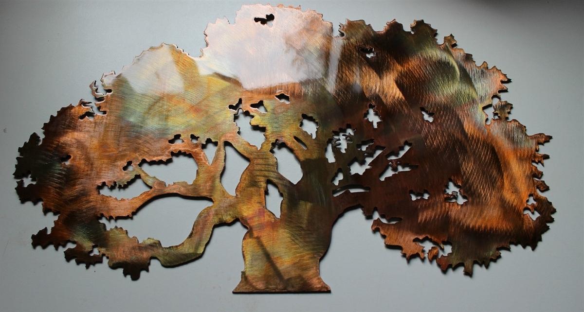 Oak Tree Metal Wall Art Intended For Fashionable The Big Oak Tree Metal Wall Art Decor (View 6 of 15)