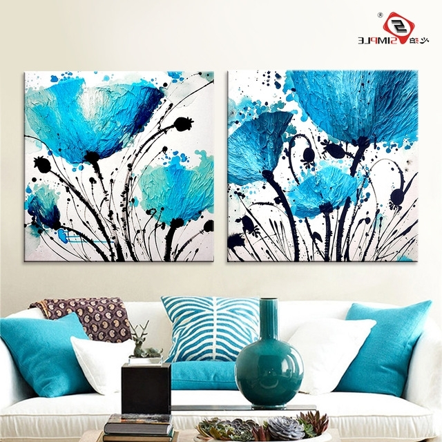 Oil Painting Wall Art Canvas Prints Abstract Blue Flowers Modern Within Popular Teal Flower Canvas Wall Art (View 5 of 15)