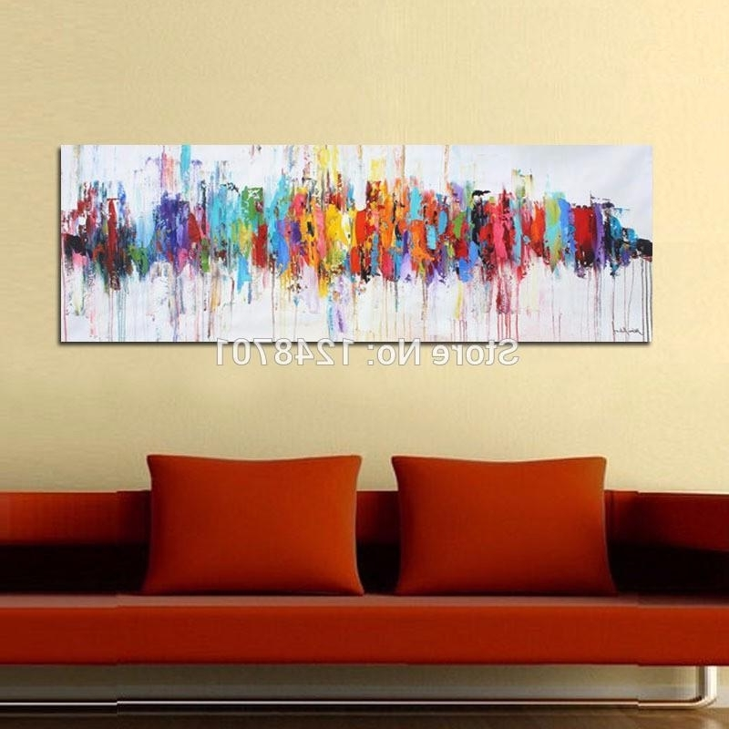 Oil Wall Paintings On Canvas Hand Painted Modern Abstract Art Home Throughout Newest Red And Turquoise Wall Art (View 4 of 15)
