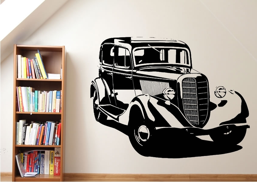Old Classic Car Transport Wall Stickers Adhesive Wall Sticker Regarding 2017 Classic Car Wall Art (View 12 of 15)