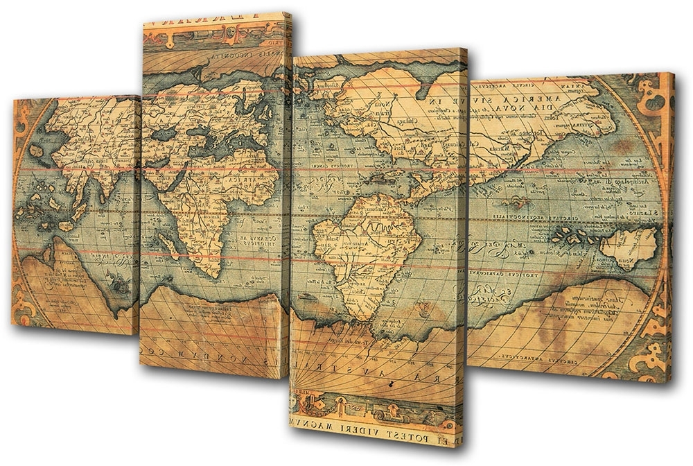 Old World Atlas Maps Flags Multi Canvas Wall Art Picture Print Va (View 14 of 15)