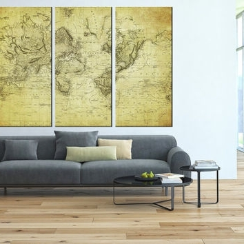 Old World Map Canvas Art Prints, Vintage From Artcanvasshop On In Widely Used Extra Large Wall Art Prints (View 14 of 15)