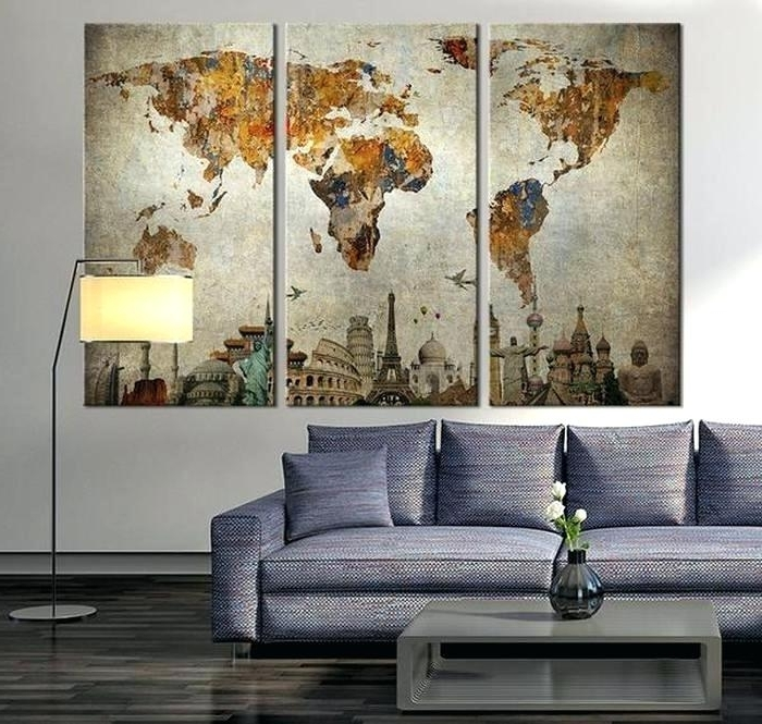 Old World Map Wall Art Antique Map Wall Art Impressive Design Ideas Throughout Popular Antique Map Wall Art (View 11 of 15)