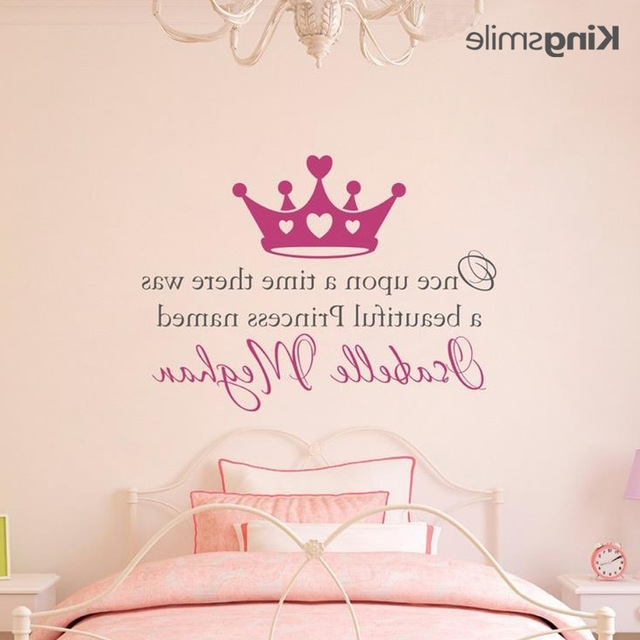 Once Upon A Time Personalized Name Princess Crown Wall Decal In Preferred Princess Crown Wall Art (View 6 of 15)
