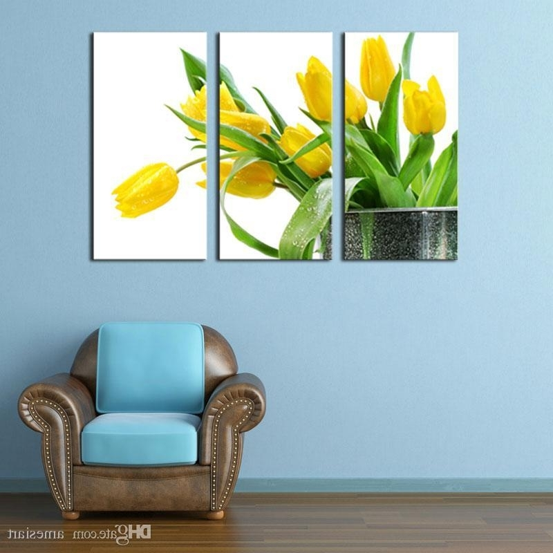 Online Cheap 3 Picture Combination Wall Art Green Spring Flowers With Well Known Yellow And Green Wall Art (View 4 of 15)