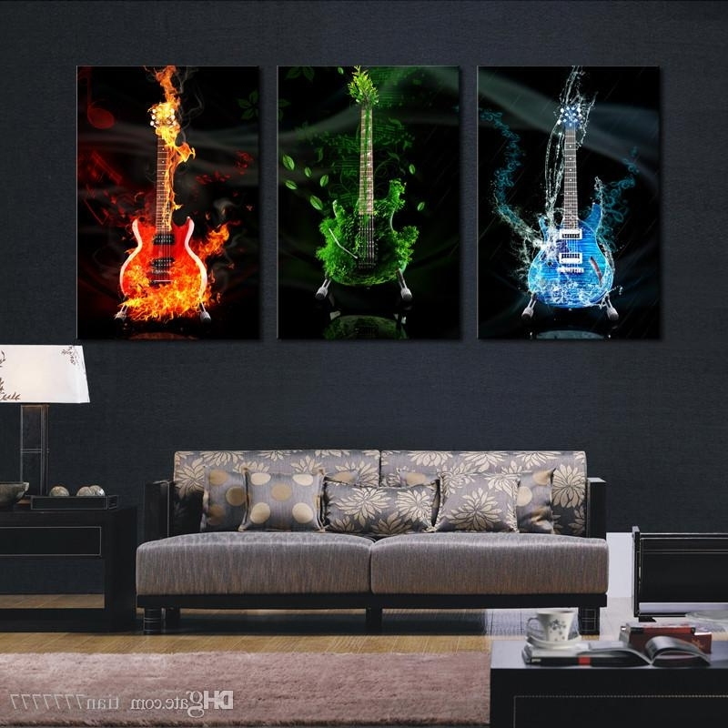 Online Cheap Abstract The Flame Guitar Hd Wall Picture Home Decor In Latest Guitar Canvas Wall Art (View 13 of 15)